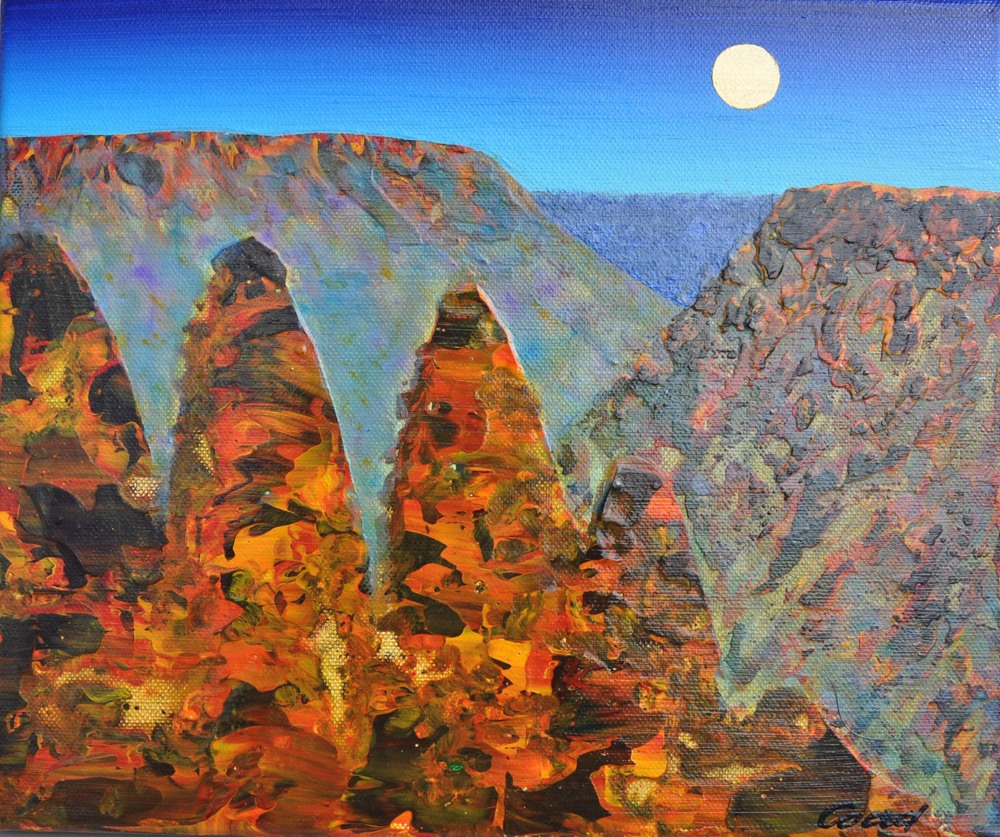 Peter Coad 'Three Sisters Study - Blue Mountains' 25cm x 30cm #14541
