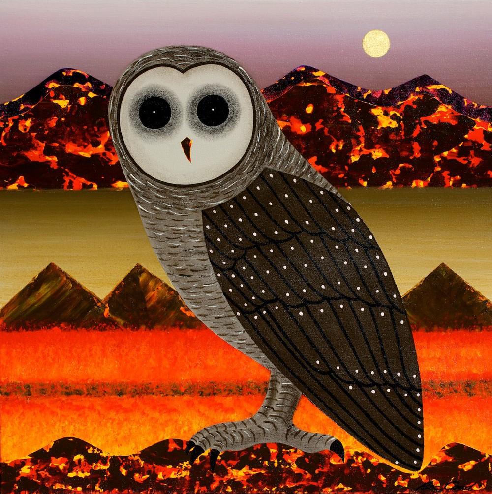 Peter Coad 'Owl Study - Coorong Moon' 75cm x 75#14924