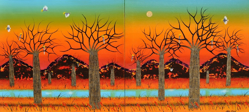 Peter Coad 'Summer Landscape - Kimberley 1 and 2' (Diptych) 90cm x 200cm Canvas;  #14554 and #14555