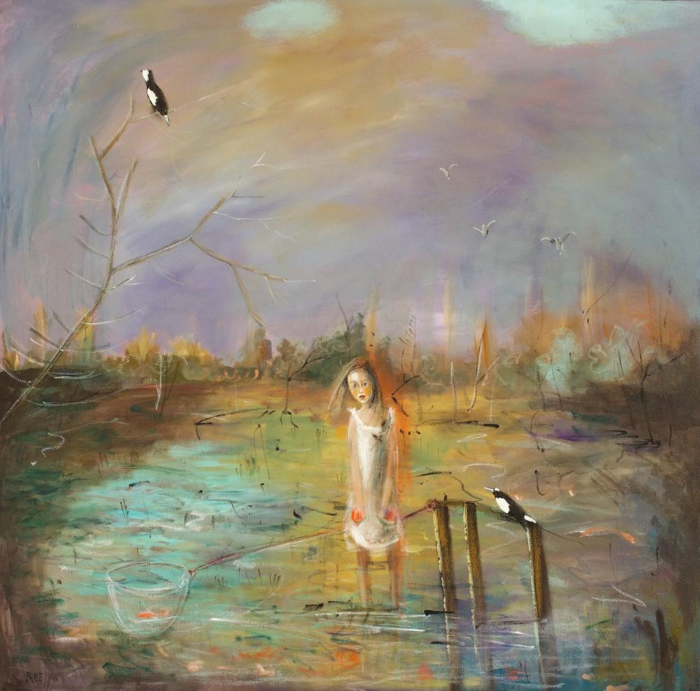 Terry Pauline Price 'Pocketful of Fish' 102cm x 101cm Mixed Media #14456