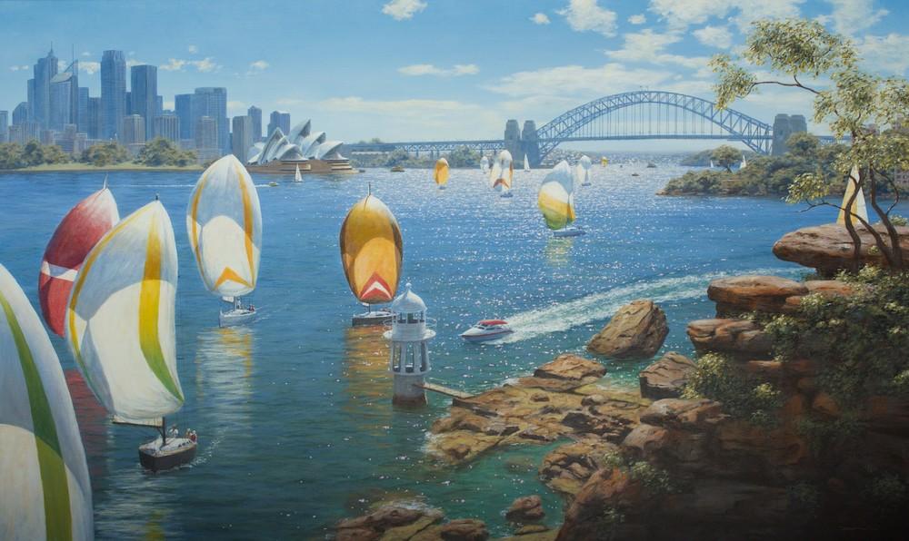 Falk Kautzner 'Harbour Sails III' 90cm x 150cm Acrylic on Canvas #14994