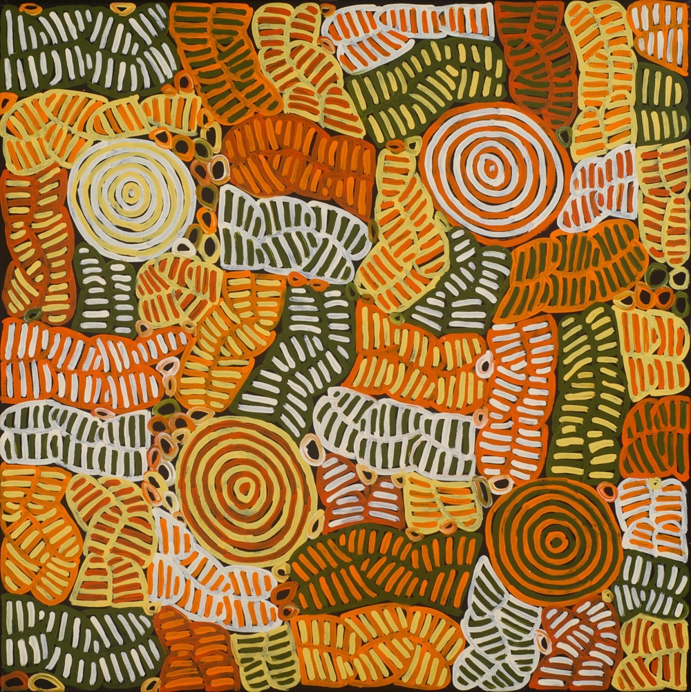 Betty Mbitjana 'Bush Melon and Awelye' 90cm x 90cm #12714