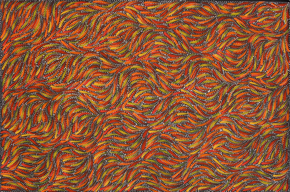 Rosemary Petyarre 'Bush Yam Seeds' Acrylic on Linen 90cm x 60cm  #15079