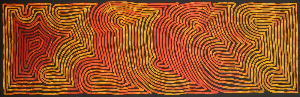 Ronnie Tjampitjinpa 'Tongari and Rain' 190cm x 60cm Acrylic on Linen (2015)