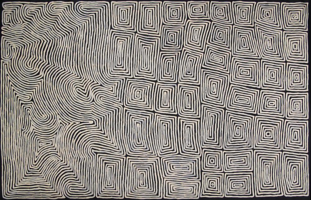 Ronnie Tjampitjinpa 'Tongari and Rain' 300cm x 190cm Acrylic on Linen (2015)