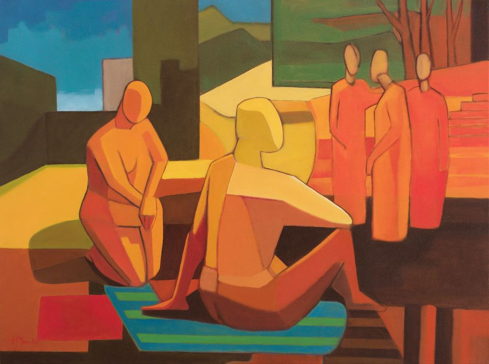 #15226 Sandro Nocentini 'Gossip' Oil on Canvas 81cm x 105cm $4800.jpg