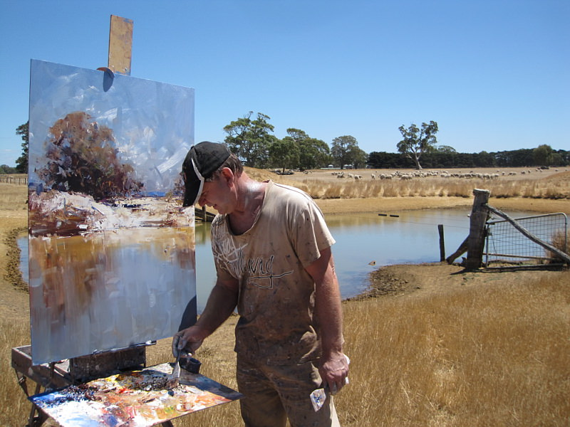 Ken Knight painting en plein air in the Australian outback
