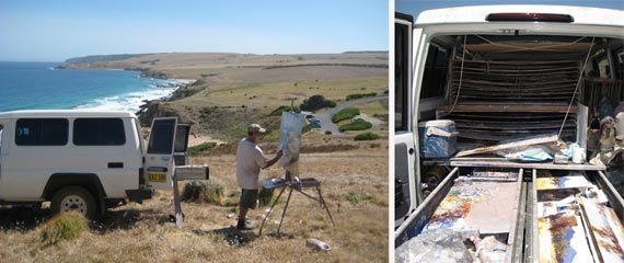 With his mobile painting studio, Ken can paint anywhere.