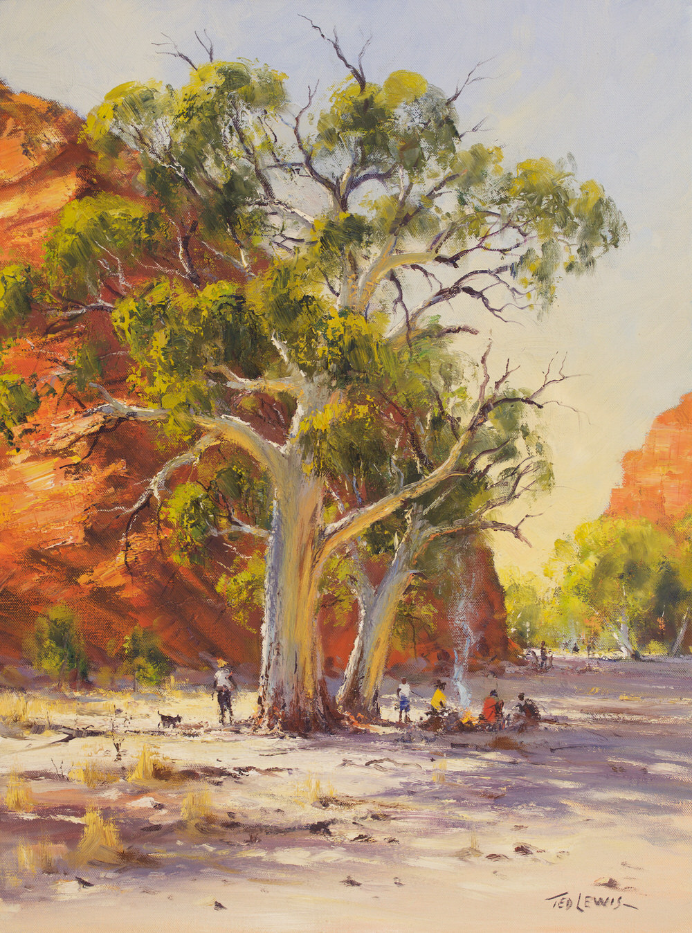 #15266 Ted Lewis ' River Camp' oil 60x46