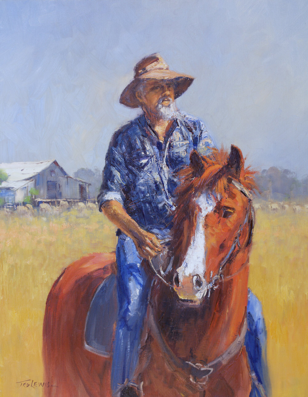 #15269 Ted Lewis 'Clancy's Mate' oil 76x60