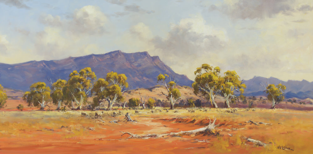 #15271 Ted Lewis ' Dry Days Finders Rangers' oil 122x60