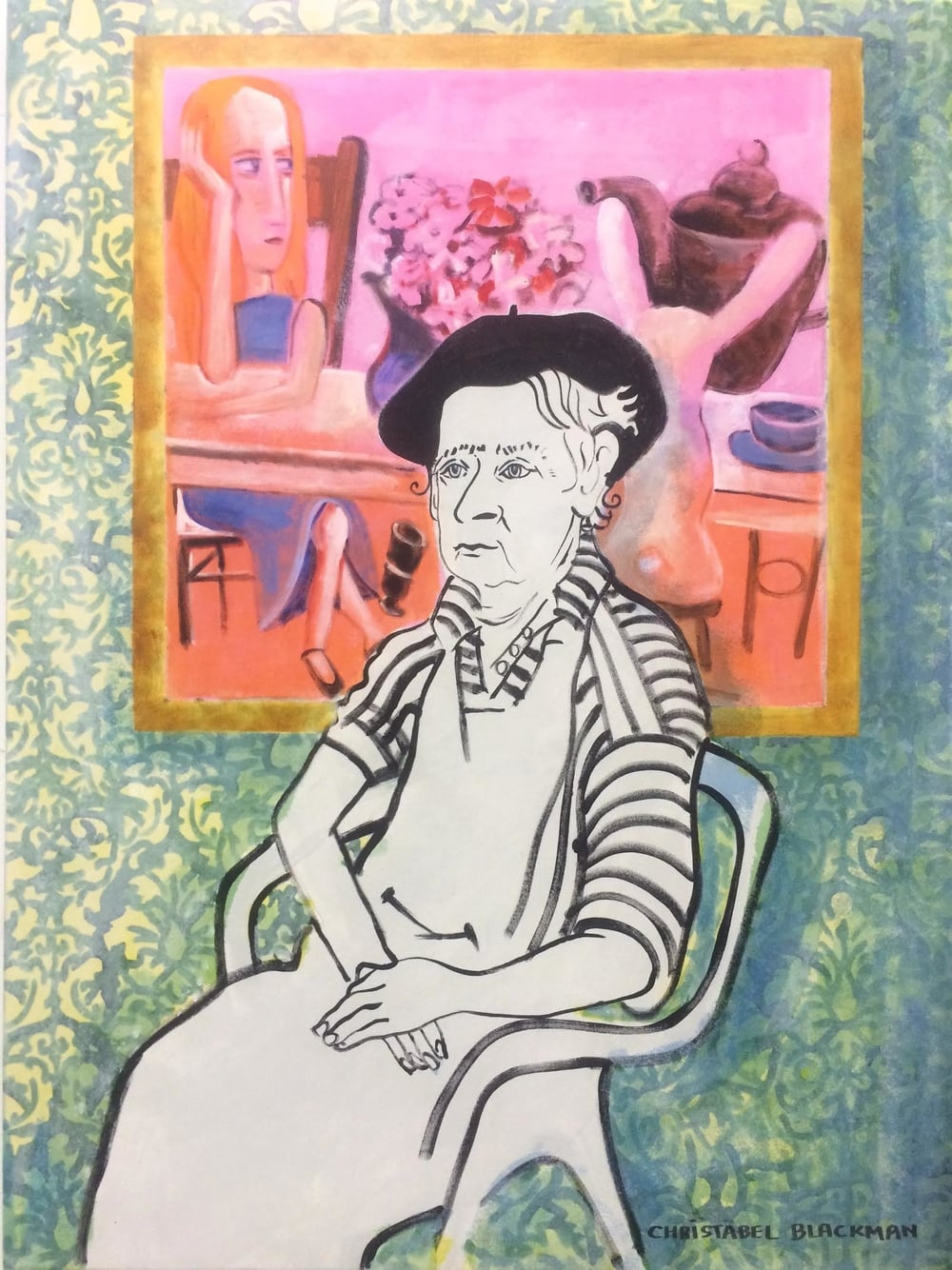 "Christabel Blackman ""Portrait of Charles Blackman with Pink Alice'   120x90 Acrylic on canvas 16255"