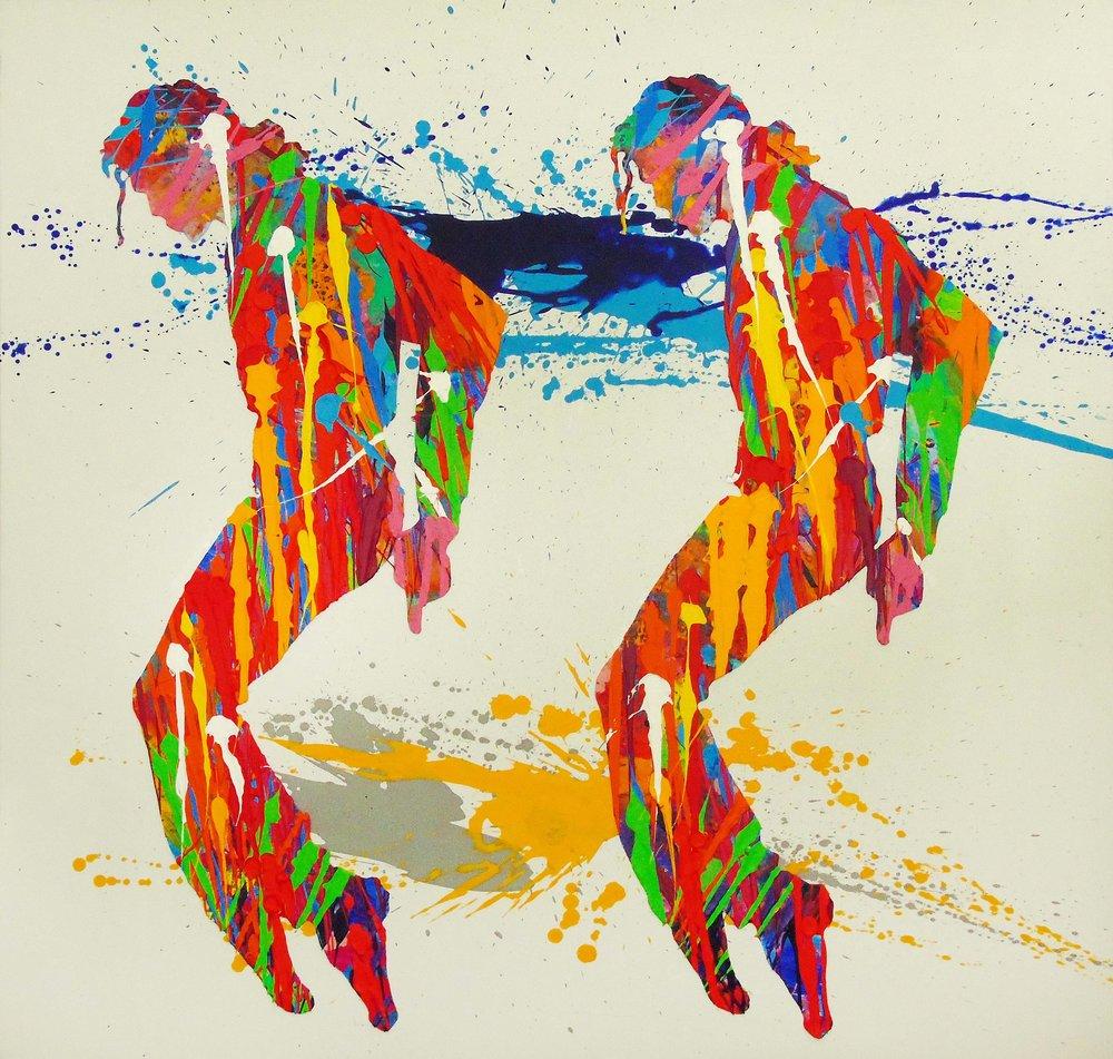 Natino Chirico Michael Jackson 90cm x 90cm Acrylic and Mixed Media on Canvas