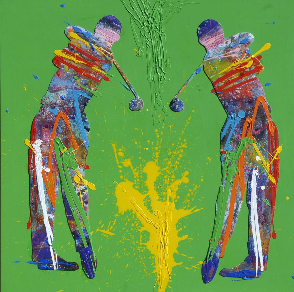 Natino Chirico   Golf   90cm x 90cm Acrylic and Mixed Media on Canvas