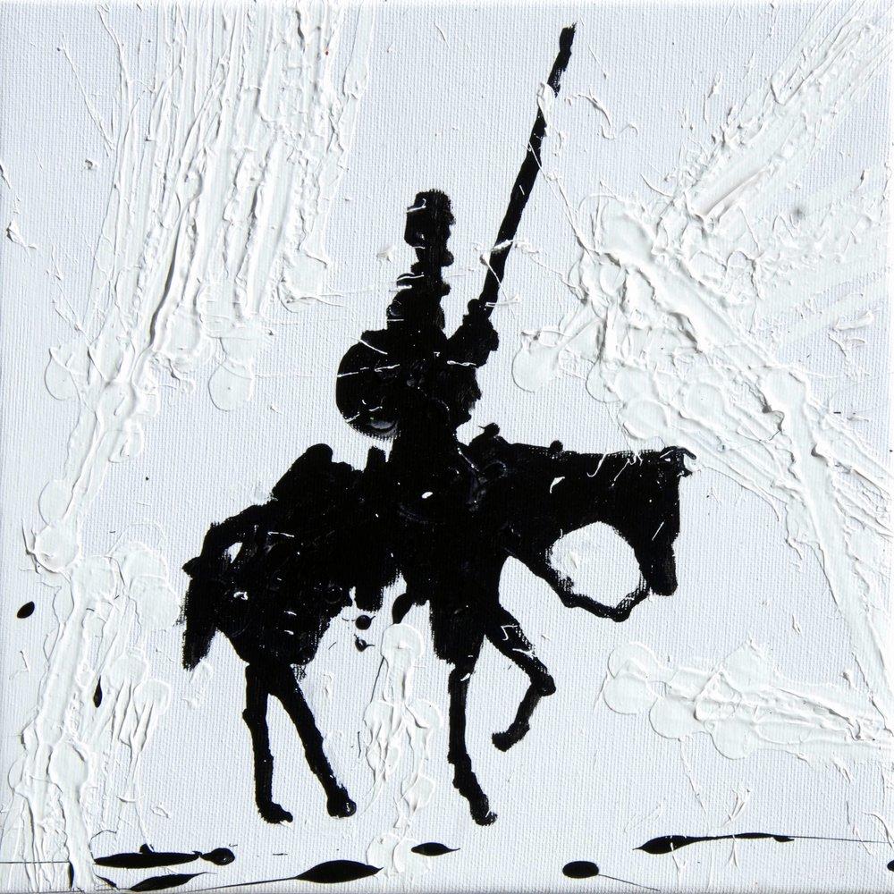 Natino Chirico Don Quixote 30cm x 30cm Acrylic and Mixed Media on Canvas