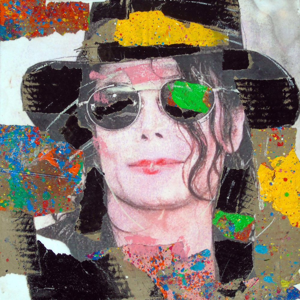 Natino Chirico Michael Jackson 30cm x 30cm Acrylic and Mixed Media on Canvas encased in Perspex