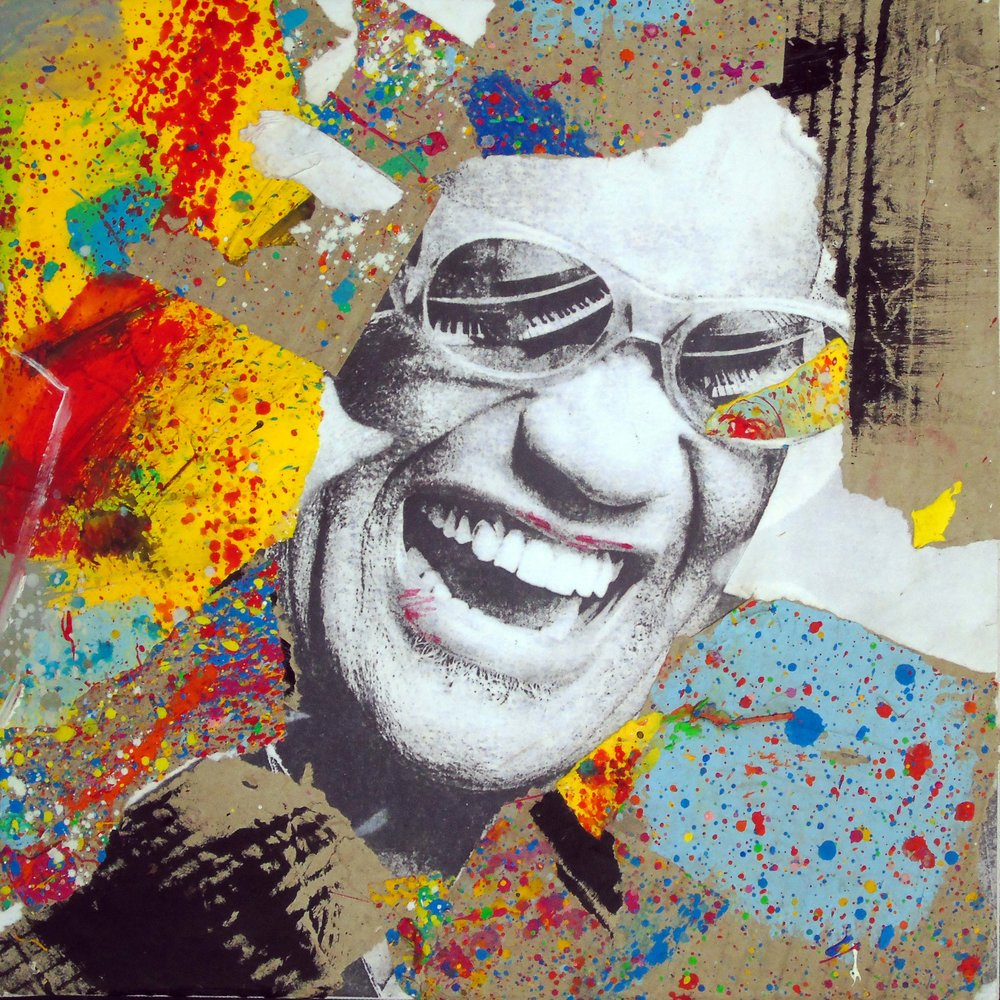 Natino Chirico Ray Charles 30cm x 30cm Acrylic and Mixed Media on Canvas