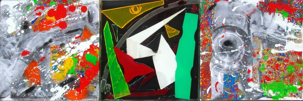 Natino Chirico Triptych 30cm x 90cm Acrylic and Mixed Media on Canvas