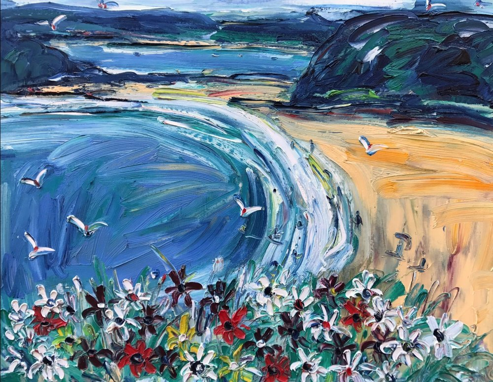 Nada Herman South Coast Beach Daisies Oil Impasto On Canvas 60 x 76 cm