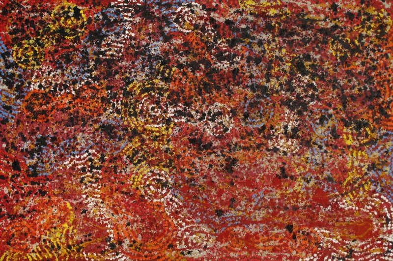 Barbara Weir Fire Dreaming 2012 Acrylic and Natural Ochre on Linen 120 x 180 cm $2200 / Year