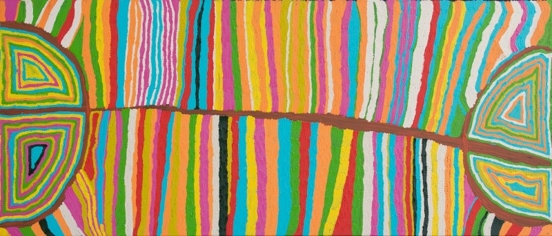 Judy Watson  Mina Mina Acrylic on Linen 92 x 212 cm  $1900 / Year