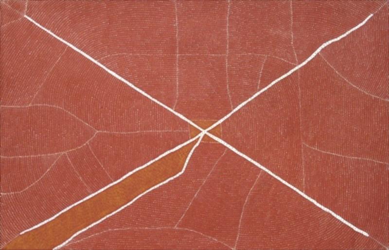 Kathleen Petyarre  Mountain Devil Lizard Dreaming Acrylic on Linen 182 x 121cm  $3600 / Year