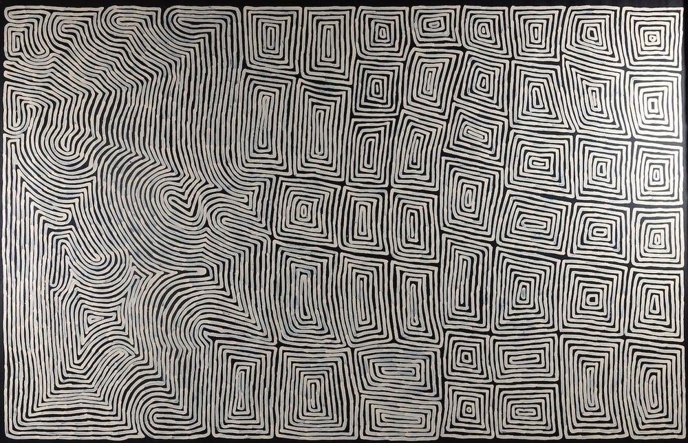 Ronnie Tjampitjinpa  Rain (Water) Dreaming Acrylic 200 x 300 cm  $6500 / Year