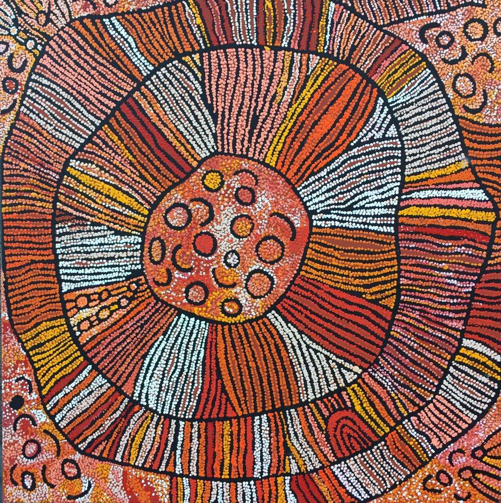 Esther Bruno Nangala  Untitled Acrylic on Linen 120 x 120cm  $895 / Year