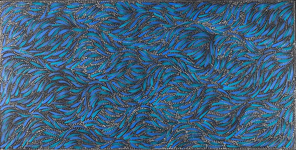 Rosemary Petyarre  Bush Medicine Leaves Acrylic on Belgian Linen 45 x 90cm  $175 / Year