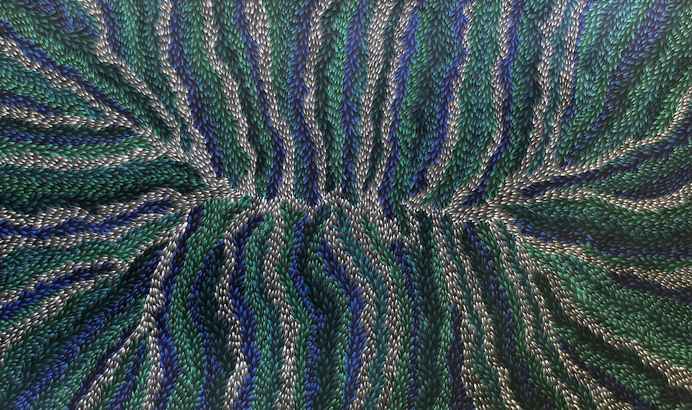 Abie Loy Medicine Leaf 2017 Acrylic on Belgian Linen 150 x 90 cm #17712