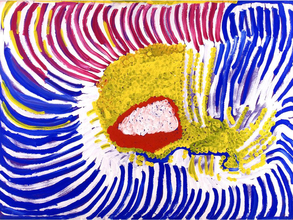 Lorna Fencer Napurrula Spring Water (1998) 1998 acrylic on belgian linen 135 x 100 cm #16535