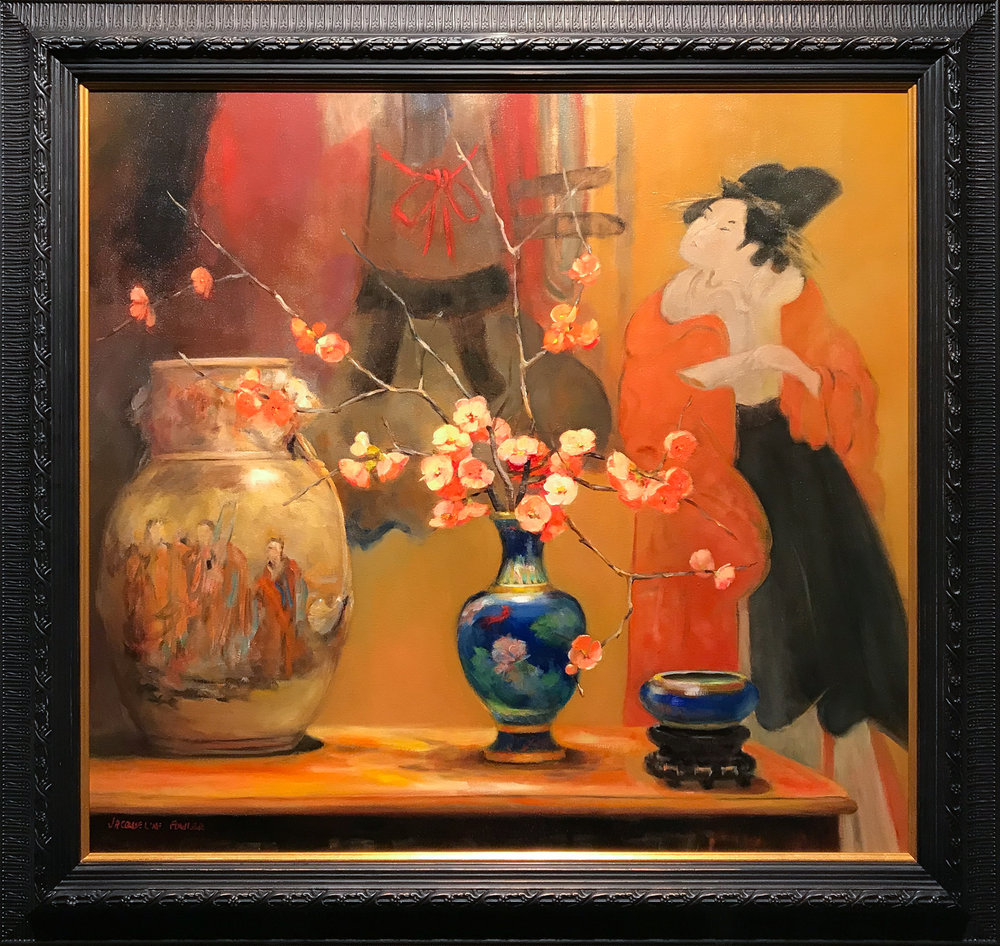 Jacqueline FowlerBlue Cloisonne Vase with Japanese Screen, 2018 Oil on Canvas68 x 73 cm.jpg