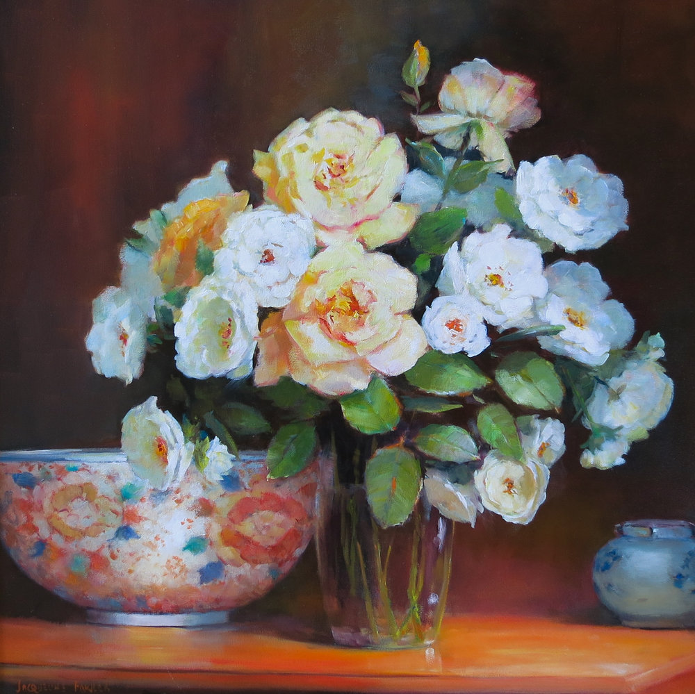 Jacqueline FowlerPeace Roses with Imari Bowl, 2018 Oil on Canvas61 x 61 cm.jpg