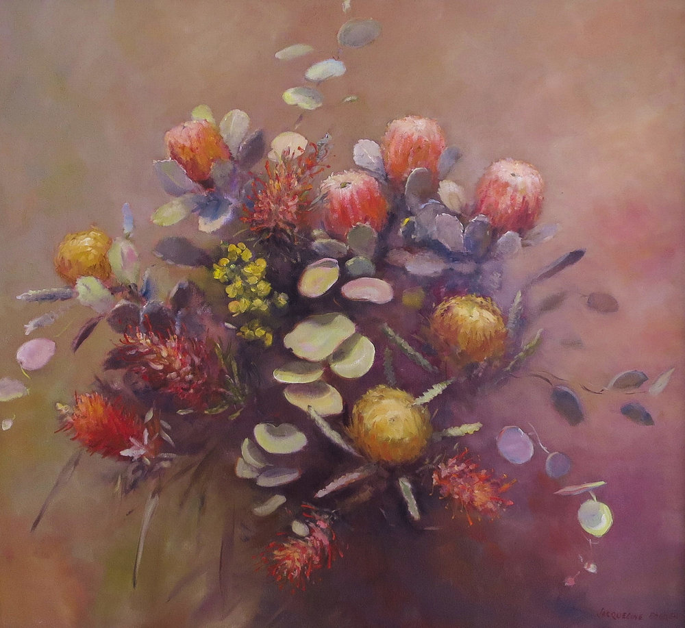 Jacqueline FowlerBanksias and Gum Leaves, 2018 Oil on Canvas75 x 80 cm.jpg