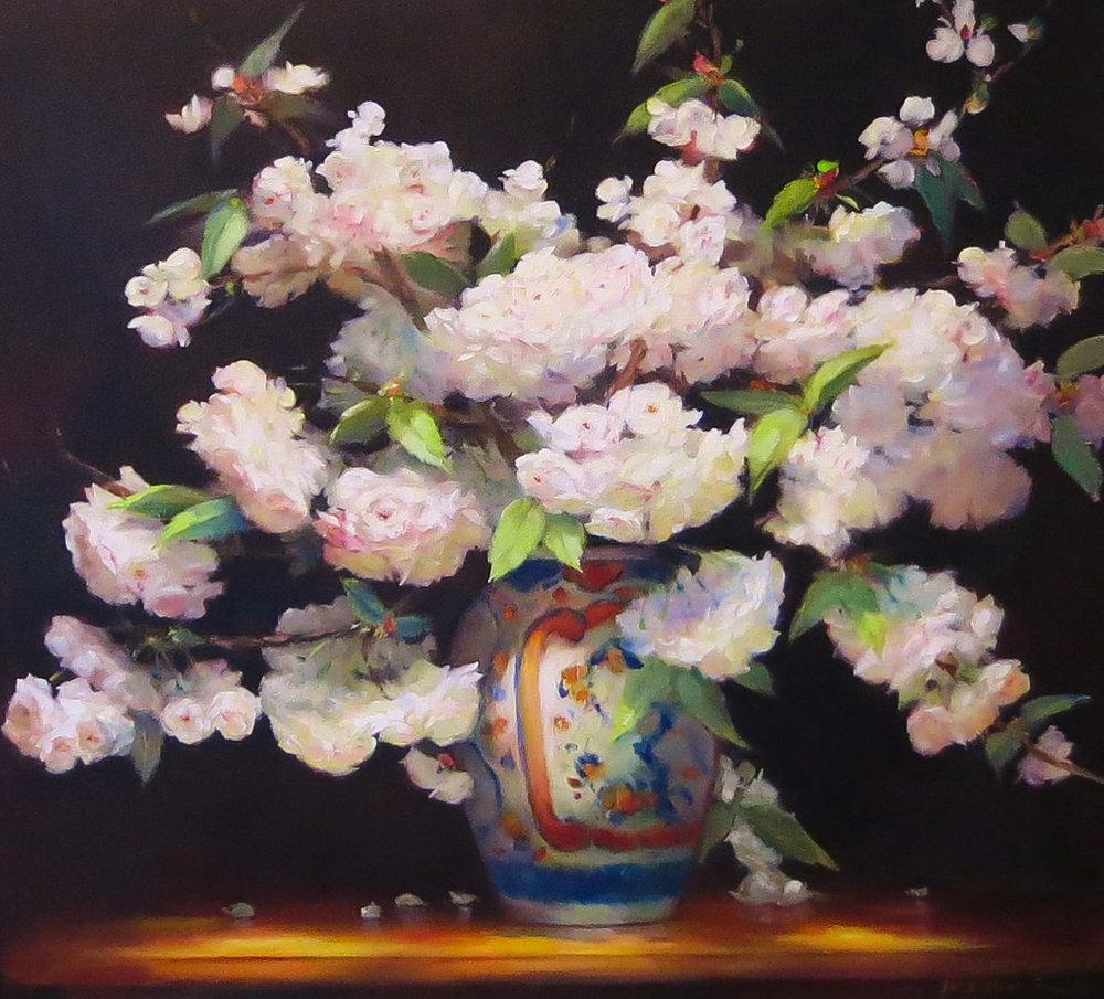 Jacqueline FowlerFuji Cherry in Imari Vase, 2018 Oil on Canvas80 x 85 cm.jpg