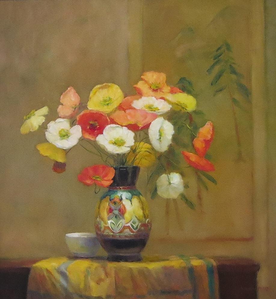 Jacqueline FowlerPoppies in Gouda Vase, 2018 Oil on Canvas89 x 83 cm.jpg