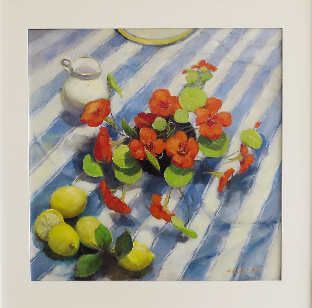 Jacqueline FowlerNasturtiums & Lemons, 2018 Oil on Canvas66 x 66 cm.jpg