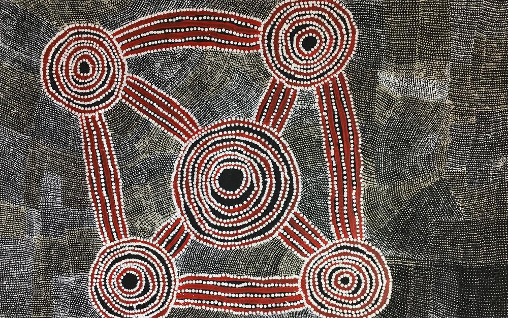 Wentja Morgan Napaltjarri Rockholes, Acrylic on Linen 60cm x 95cm