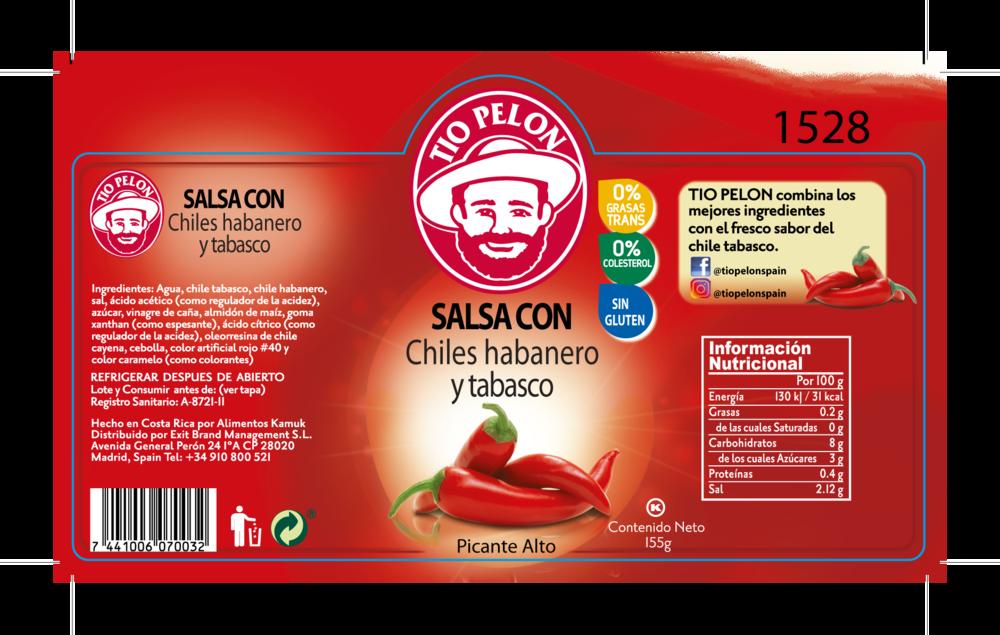 ETIQ.Salsa Chiles habanero y tabasco Tío Pelón Exit Brand.png