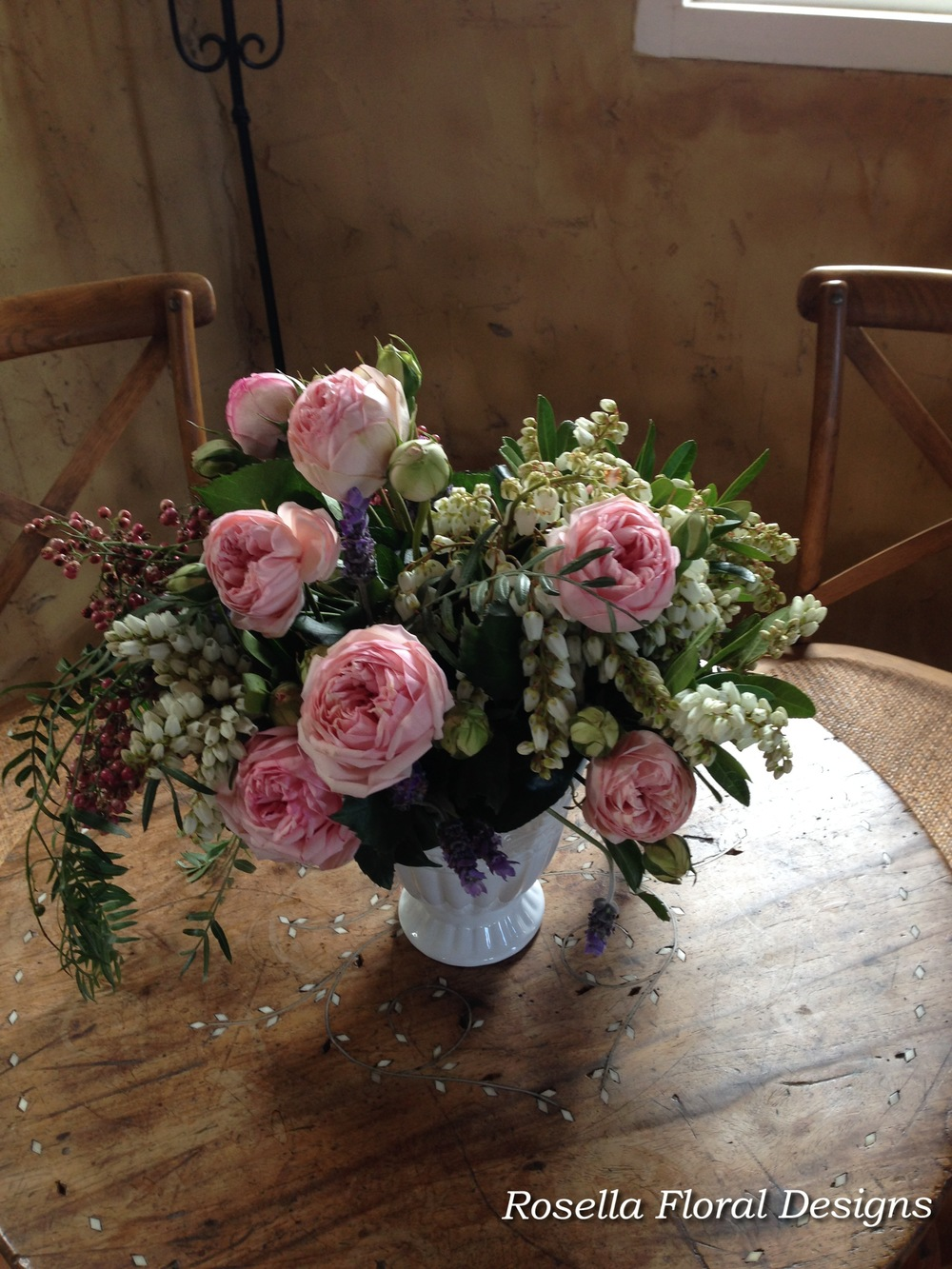 Garden rose floral arrangement in vase.jpg