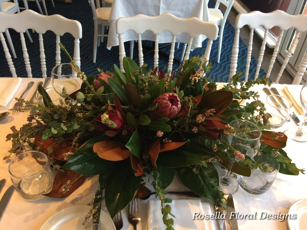 Centrepieces rosella floral designs sydney wedding events florist long and low table centerpiece australian nativesg junglespirit Image collections