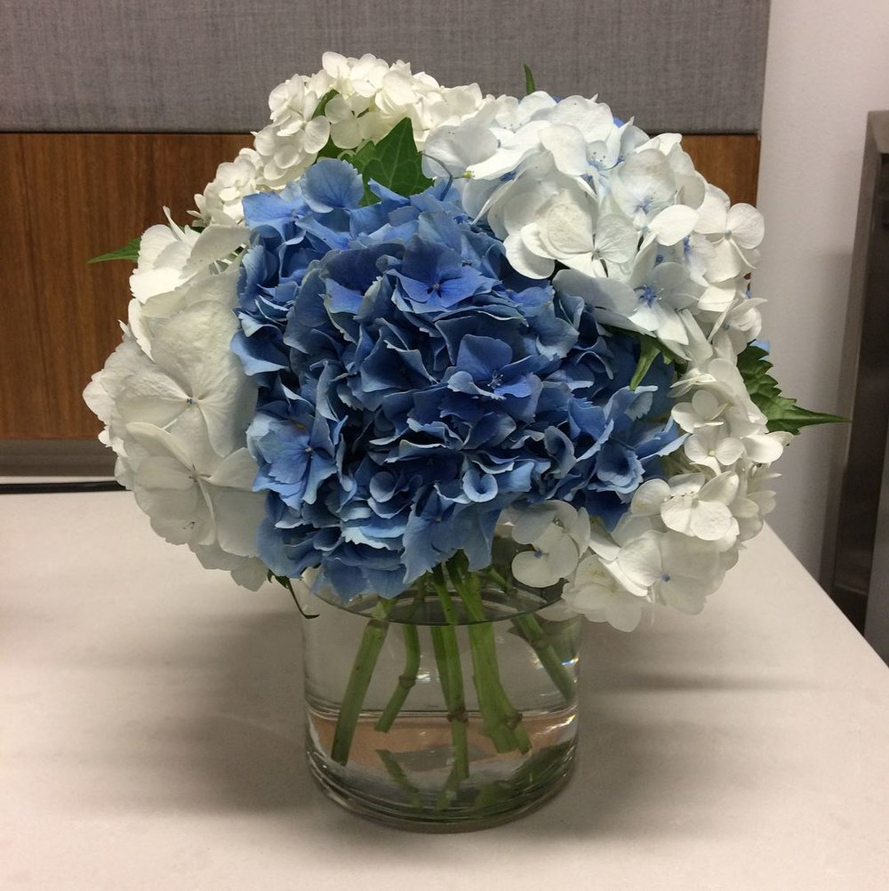 Hydrangea floral centerpiece corporate arrangement.jpg