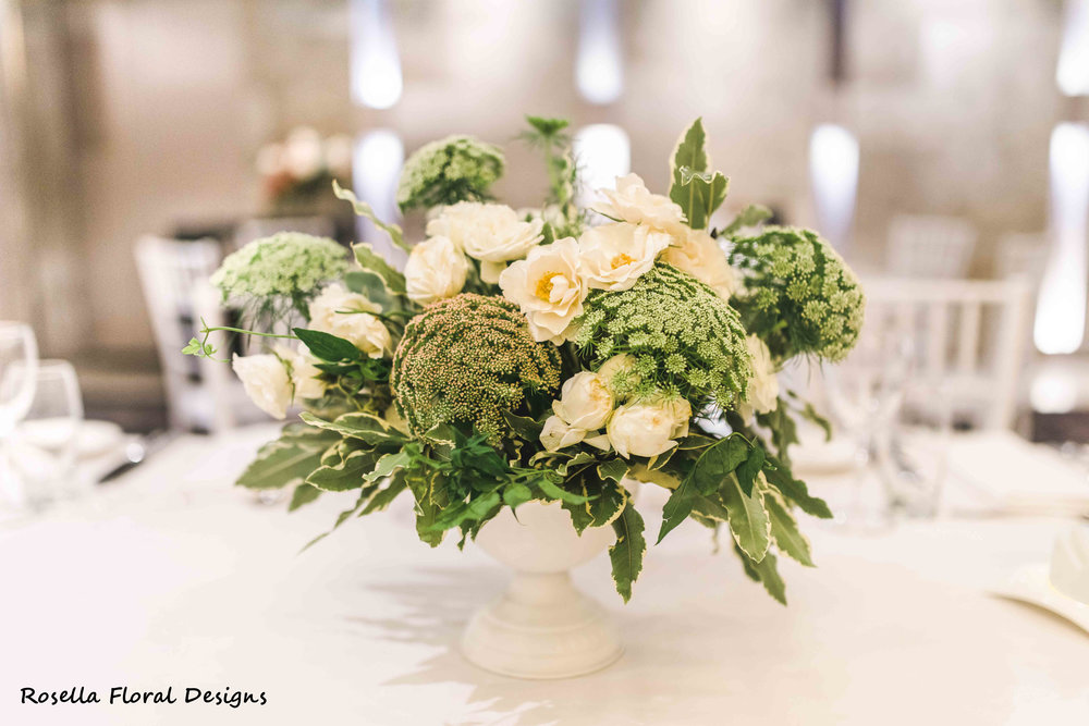 White & green wedding table centerpiece.JPG