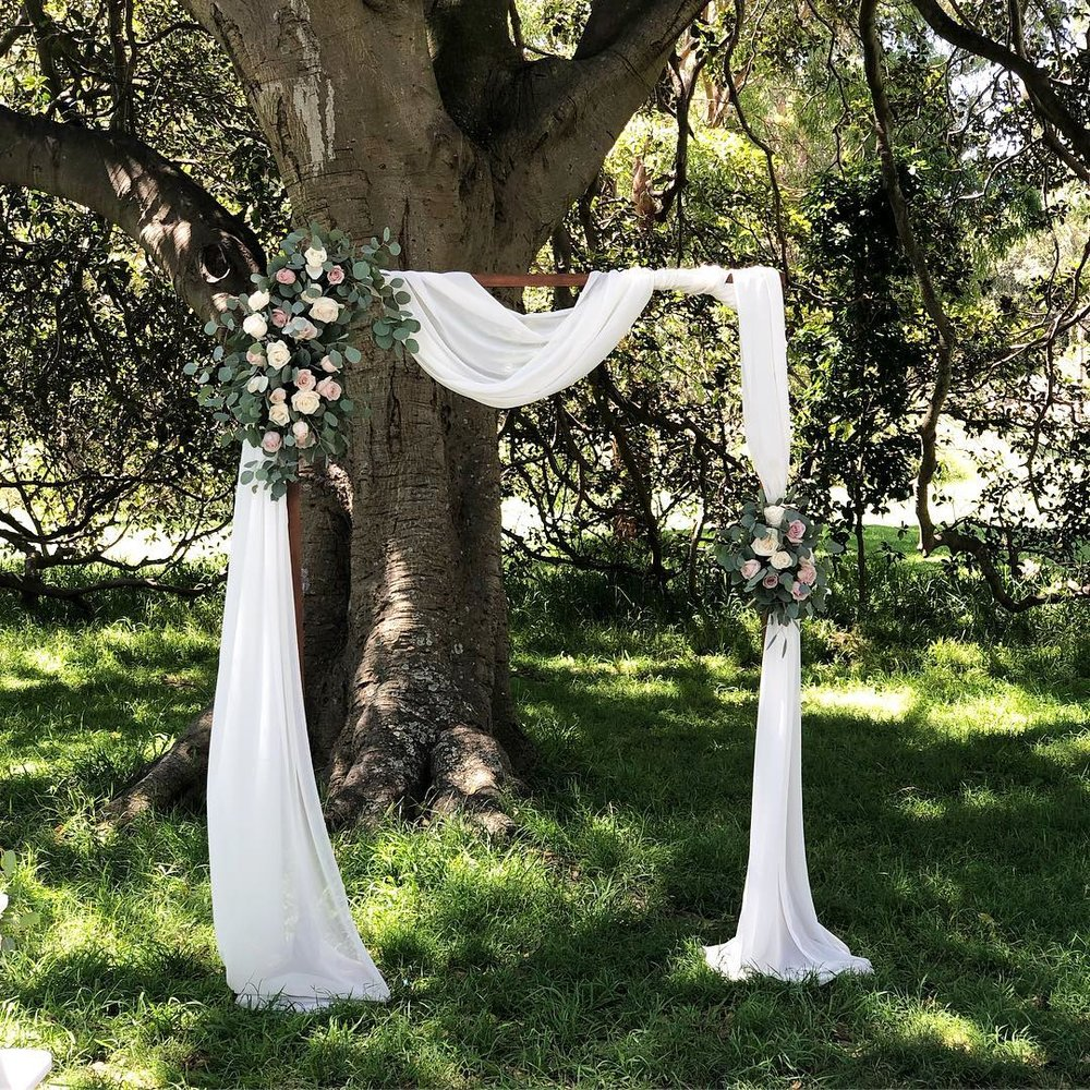 Wooden arch for hire $150. Price doesn't include flowers or fabric.  Dimensions: Arch Height: 2 m; Length 1.5 m