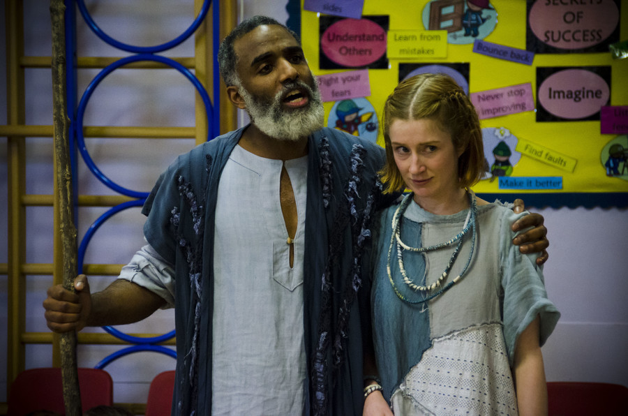 l-r, Darren Raymond (Prospero) and Elly Condron (Miranda)