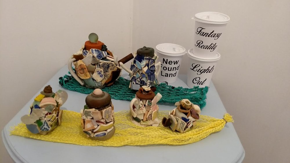 Sea Glass Teapots by Emma Croll-Baehre (Corner Brook, NL) and Coffee Cups by Eva Melas (Brooklyn, NY)