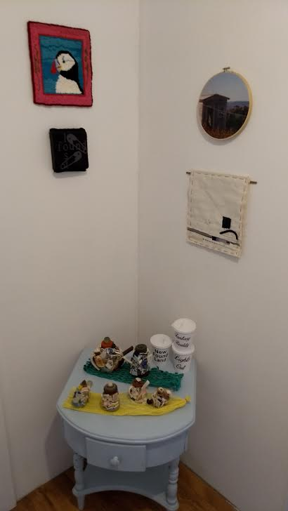 Puffin hooked mat, Linda Foulds (Corner Brook, NL), Lost and Found, Sasha Chavchavadze (Brooklyn, NY), Untitled (Shed) Gum Photo-transfer with embroidery, Ashley Hemmings (Corner Brook, NL), Tidings embroidery and fabric collage, Lucy Taylor (Edinburgh, Scotland).