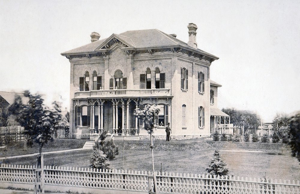 The Williams Funeral Home building was originally a house built by John Baird (In above Image). This is the oldest photograph we have of our Historic building; Dated approx. 1842. Several renovations and changes happened throughout the years, but the buildings core architecture and detailing remains.
