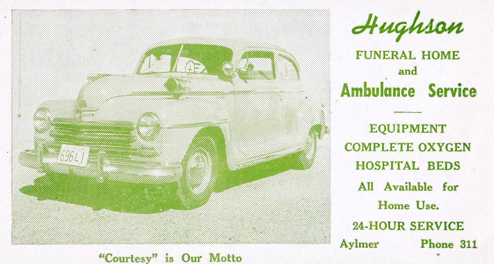 Prior to purchasing Williams Funeral Home in 1965, Gord and Joyce Hughson operated the funeral home and ambulance service in Aylmer Ontario.