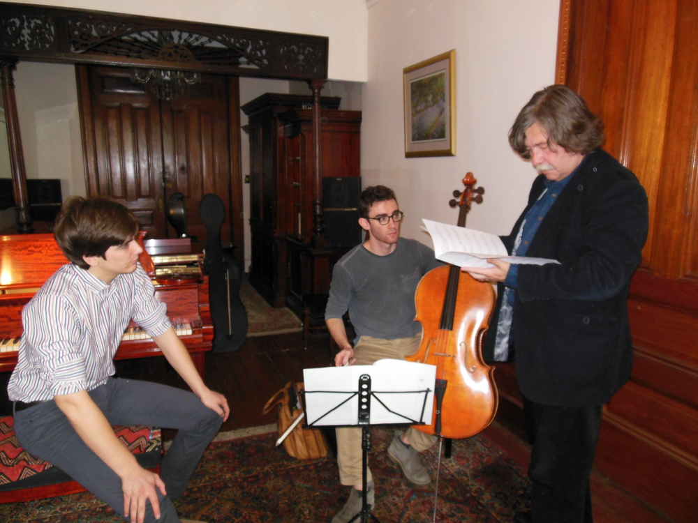 Nathaniel LaNasa (left) and Colin Stokes (center) rehearse with the great composer Vladimír Godár prior to the event. Photo: Katarina Godár